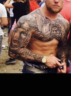 My own tattoos for men on chest hombre ideas for guys ideas for men for men Full Chest Tattoos, Upper Back Tattoos, Chest Piece Tattoos, Back Tattoos For Guys, Full Sleeve Tattoos, Armband Tattoos, Tatuajes Tattoos, Chicano Tattoos, Forearm Tattoos