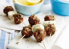 Lemon Thyme Lamb and Cheese Ball Kebabs with Danish Blue