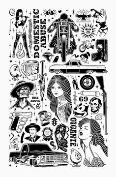 Flash Art Tattoos, Tattoo Flash Sheet, Body Art Tattoos, Mike Giant, Cholo Tattoo, Tattoo Sketches, Tattoo Drawings, Dibujos Tattoo, Biker Tattoos