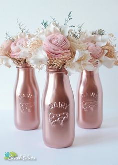 Items similar to Copper milk bottles / centerpiece / table decor / party decor / baby shower decor / rose gold decor / vase / kitchen decor / pink on Etsy - Copper Painted Milk Bottles Baby Shower Decor by BeachBluesBaby - Milk Bottle Centerpiece, Centerpiece Table, Wedding Centerpieces, Wedding Decorations, Gold Decorations, Baby Shower Girl Centerpieces, Birthday Decorations, Wedding Table, Rose Gold Centerpiece