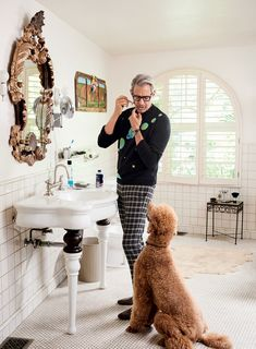 Jeff Goldblum: An Oral History of Hollywood's Most Charming Eccentric Bulldog Breeds, Poodle Grooming, Men With Street Style, Clothing Deals, Oui Oui, Cool Sweaters, Dog Love, Dapper, Cats And Kittens