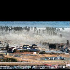 Tsunami in Japan swallowing a village