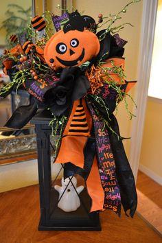 Pumpkin Head Halloween Lantern Swag by kristenscreations on Etsy