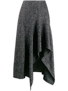 Oscar De La Renta Herringbone Pattern Midi Skirt In 灰色 Drape Skirt Pattern, Sleeves Designs For Dresses, Coats For Women, Clothes For Women, Satin Midi Skirt, Spring Outfits Women, Draped Skirt, Asymmetrical Skirt, Outfit