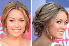 Hair Styles Wedding Guest Lauren Conrad 38 New Ideas Wedding Hairstyles Thin Hair, Trendy Hairstyles, Hair Wedding, Wedding Dress, Prom Hairstyles, Bridal Hair And Makeup, Hair Makeup, Bridesmaid Hair Updo Messy, Lauren Conrad Hair