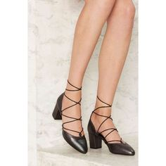 Intentionally Blank Hatter Leather Heel (106.460 CRC) ❤ liked on Polyvore featuring shoes, pumps, black, black leather shoes, stacked heel pumps, leather shoes, black mid heel shoes and lace up shoes