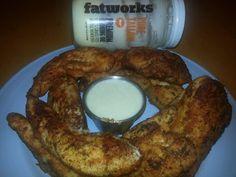 Chicken Strips w/ Garlic Dipping Sauce  @Anne Dann Dieting