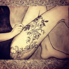 Sketch of a very popular thigh tattoo photo, artist unknown; Tattoo artist also apparently unknown.
