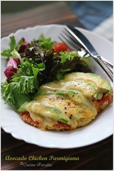 Chicken Avocado Parm - I'd replace the tomato sauce though with salsa and make this Mexican - just my 2 cents.