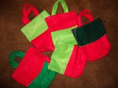 Make tote bags out of clearance stockings you find after Christmas (I've seen them as low as $0.10)