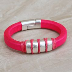 Red Waxed Cotton Cord Friendship Surfer Bracelet with 3 Rose Gold Brass Beads