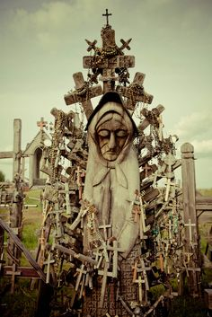 Hill Of Crosses , Lithuania - Wow, that would look creepy for a halloween graveyard!