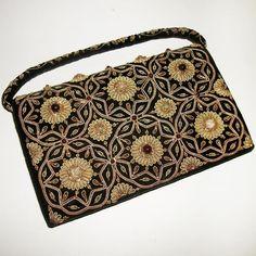 Vintage Zardozi Zardosi Embroidered Beaded Black Velvet Evening Bag Clutch 1930s in Clothing, Shoes & Accessories, Vintage, Vintage Accessories | eBay