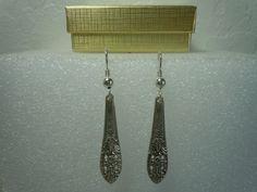 Fine Arts Crown Princess 1936 Earrings Sterling #FineArtsCrownPrincess1936 #DropDangle