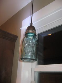 Did I say charming?? I mean absolutely FABULOUS!!   My wonderful can't stop staring at Mason Jar Pendant Light!  BEFORE......boring!  Wha...