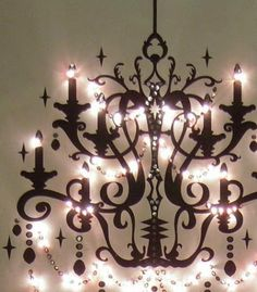 2D chandelier on canvas, perfect for a girl's room