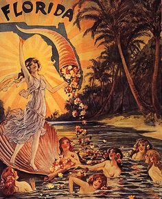 GIRLS MERMAIDS BATH LAKE FLORIDA ISLAND FLOWERS SUN VINTAGE POSTER REPRO LARGE