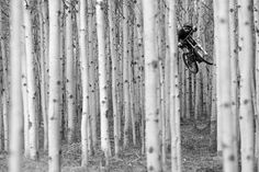 Sterling Lorence - black & white shot of mountainbiker Matt Hunter