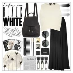 """black x white fun"" by somethingboutfasion ❤ liked on Polyvore featuring Sephora Collection, Elie Saab, rag & bone, NARS Cosmetics, Assouline Publishing, River Island, Home Decorators Collection, Versace and Chanel"