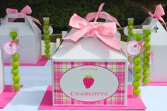 Love the idea of gable box lunches! Personalized! Berry Sweet Strawberry Party Pictures + Inspiration!
