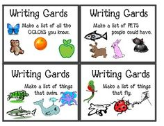 """Another pinner said """"I use these writing cards with my first grade class as a Work on Writing activity during our Daily 5 rotations. The first time I introduce it, I . Daily 5 Writing, Work On Writing, First Grade Writing, First Grade Classroom, Writing Lessons, Writing Prompts, Writing Centers, Literacy Centers, Writing Ideas"""