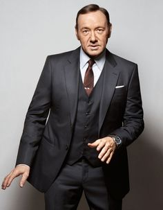 Kevin Spacey in a suit, tie and shirt by Giorgio #Armani