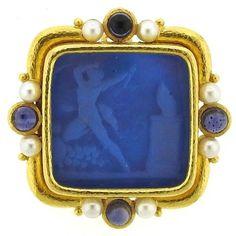 Elizabeth Locke Gold Pearl Sapphire Venetian Glass Intaglio Pendant Brooch 1