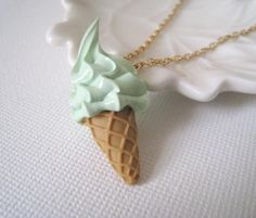 Mint Ice Cream Pendant Necklace