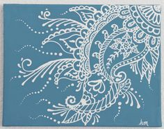 Mehndi Henna Painting 11x14 Stormy blue and whiteON by HollyDoll, $16.00