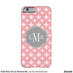 Pink Fleur De Lis Pattern Monogram Barely There iPhone 6 Case