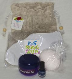 Luxury hand & foot pamper gift bags. £12 each.  Each contains large bath bomb, 100ml sandlewood hand cream or 100ml Peppermint foot gel, overnight cotton gloves/socks, 5ml nail varnish and they come packaged in hessian gift bag with descriptive label & flower