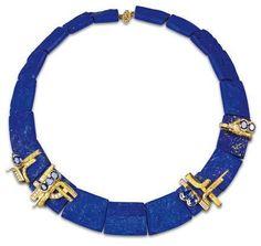 """Colierul """"Archipel"""" creat de Thierry Vendome (fiul lui Jean Vendome, vezi postarea precedentă); plăci din lapis lazuli cu aur, safire şi diamante."""