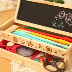 See related links to what you are looking for. Storage Drawers, Storage Boxes, Storage Ideas, Wooden Pen Holder, Cheap Storage, Pencil Writing, Pen Holders, Crayon, Wooden Boxes