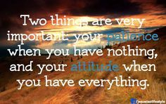 Two things that are very important -