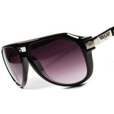 20b9d518ae3 NEW Khan Eyewear Classic Retro Vintage Aviator Mens Womens Black Sunglasses  A13A Black Sunglasses