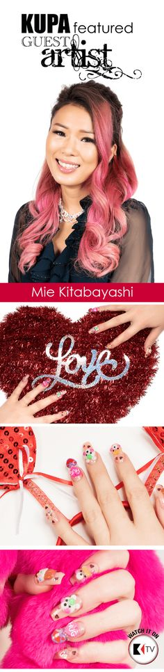 Join Featured Guest Artist of the month Mie Kitabayashi as she shows us her techniques and tips with the first couple designs from her Valentine's 2017 3D Nail Art Video with #KupaTVHost Jess.Using the ArtFinity 3D Nail System along with incorporating Divinity Traditional Monomers she shows simple, easy ways to sculpt acrylic powders.  Part 1: https://www.youtube.com/watch?v=Fep_FGKU7eM