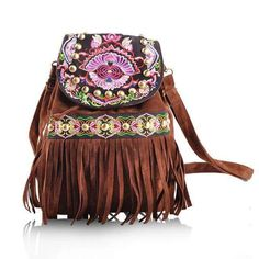 Women Backpack National Vintage Handmade WOMEN BACKPACK * Opening method: cover type * Applicable gender: women * Main Material: Cotton Fabric * Decoration: Embroidery,Tassel * Pattern Type: Floral * Backpacks Type: Softback * Closure Type: String * Lining Material: Polyester * Rain Cover: No * Carrying System: Physiological Curve Back * Exterior: None * Style: Vintage * Handle/Strap Type: Soft Handle * Interior: Interior Zipper Pocket * Material: PU leather