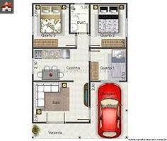 Resultado de imagem para planta de casas 80m2 com garagem