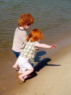 Red Haired Children on Beach