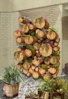 + + = The log planter green wall final design. Hanging Succulents, Hanging Plants, Log Planter, Planters, Log Wall, Gravel Garden, Garden Paths, Garden Crafts, Garden Ideas