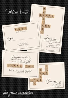 Scrabble  Mini Suite Save the Date Invitation by foryourinvitation. Visit Renaissance Fine Jewelry in Vermont or a www.vermontjewel.com for the ultimate bridal  jewelry!
