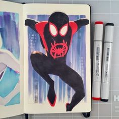 Into the Spider-Verse marker drawings. Avengers Art, Marvel Art, Comic Books Art, Comic Art, Spiderman Drawing, Spider Art, Spider Verse, Copic Marker Art, Posca Art