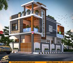 Architect Design House, Duplex House Design, House Front Design, Modern Exterior House Designs, Modern House Facades, Modern House Plans, Architecture Résidentielle, Architecture Visualization, Building Elevation