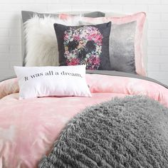 If looks could kill. Finish off your space with this feminine and bohemian accessory. This flower skull pillow embodies a free spirited lifestyle any way you flip it — as its design is featured on bot