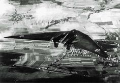 """Horten Ho-Vc in flight over Gottingen German """"Wunderwaffe"""" ( """"Wonder Weapon"""") – aircraft wing Horten Ho-Vc in flight over Gottingen. The first Horten Ho-Vc flew on May 26, 1942. The summer of 1943 aircraft crashed due to pilot error. IN : Shooting Time Unknown"""