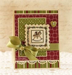 """JustRite Stampers:  JB 09780 Hearts Come Home  JB 08407 2"""" Square Stamper  Dies:  Spellbinders Nestabilities Classic Scallop Squares"""