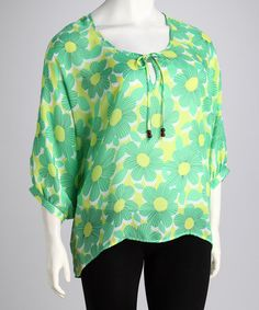 Take a look at this Larsen Grey Green Sheer Floral Plus-Size Top by Larsen Gray on #zulily today!