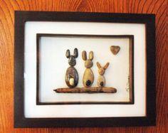 Bunny family of three...pebble art