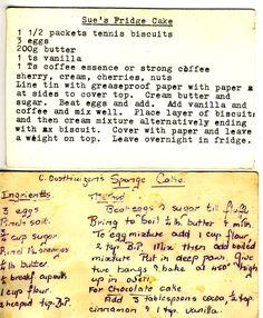 Sue's Fridge Cake and C Dosthemizer's Sponge Cake