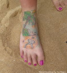 Our bride Nina had the most adorable tattoo that told the story of her engagement in the Seychelles. www,hawaiianweddings.net Marriage Tattoos, Brides With Tattoos, Wedding Tattoos, Team Bride, Love And Marriage, Seychelles, Engagement, Engagements